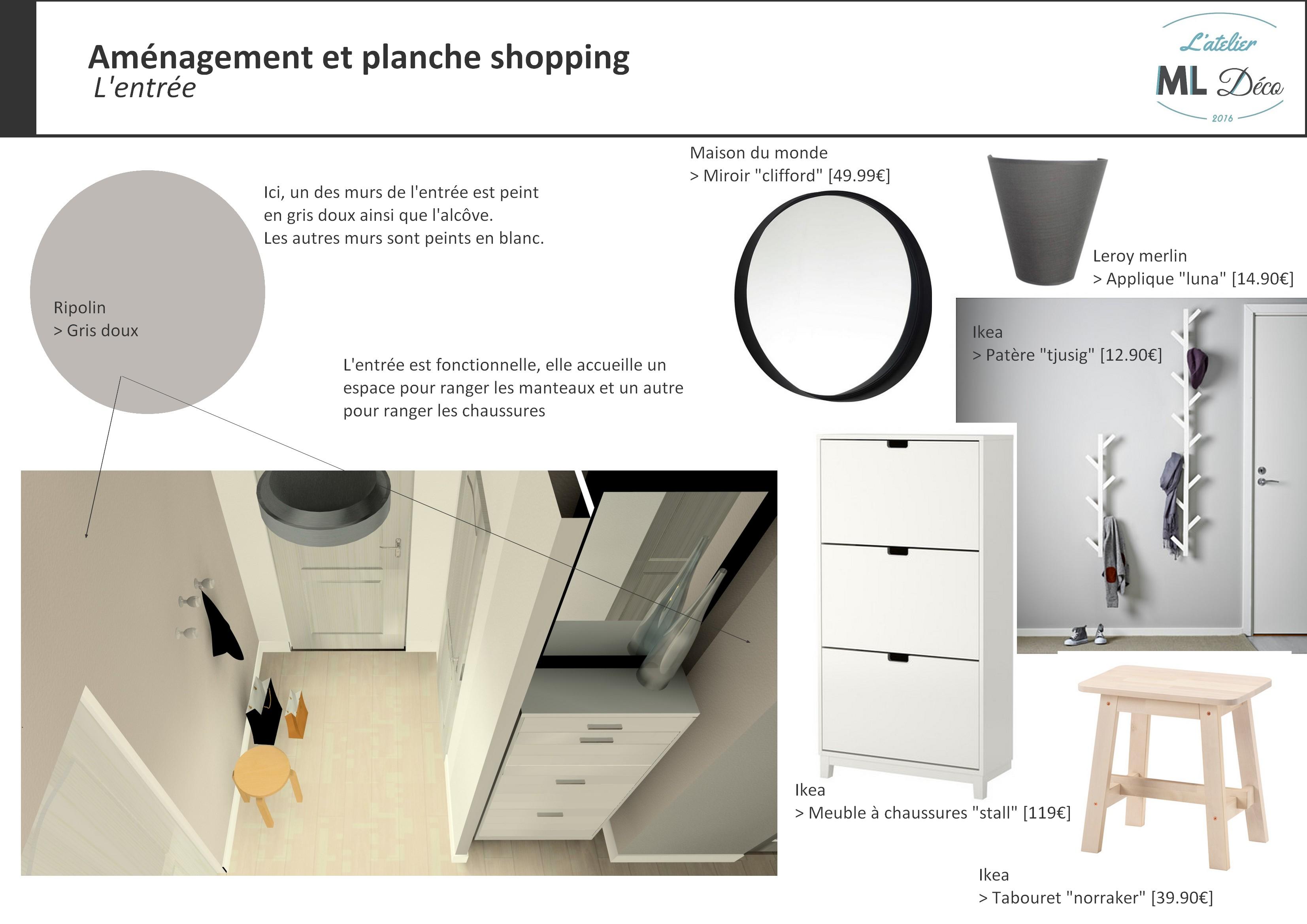 Aménagement et planche shopping - L'entrée