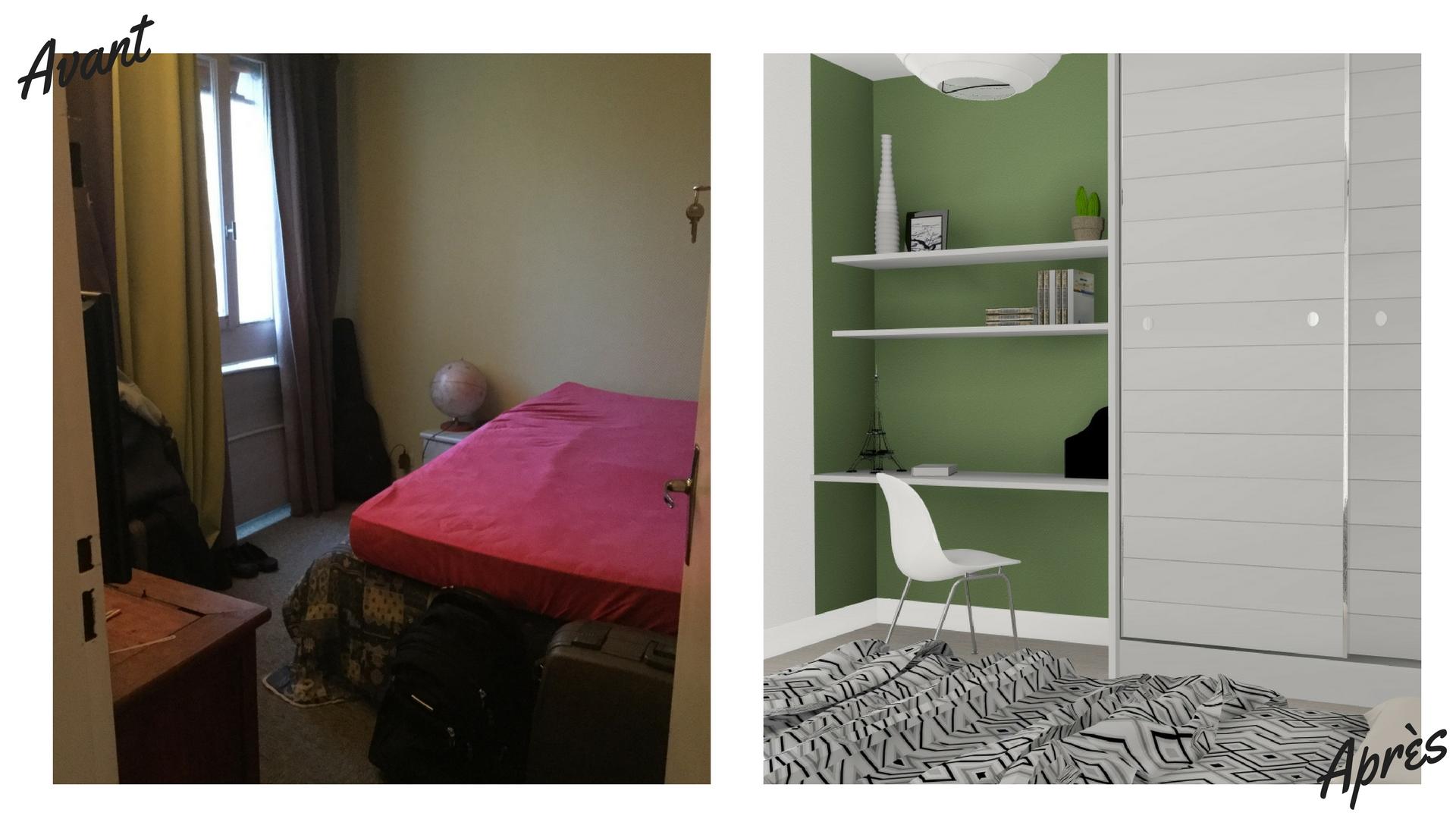 Avant-après chambre 2
