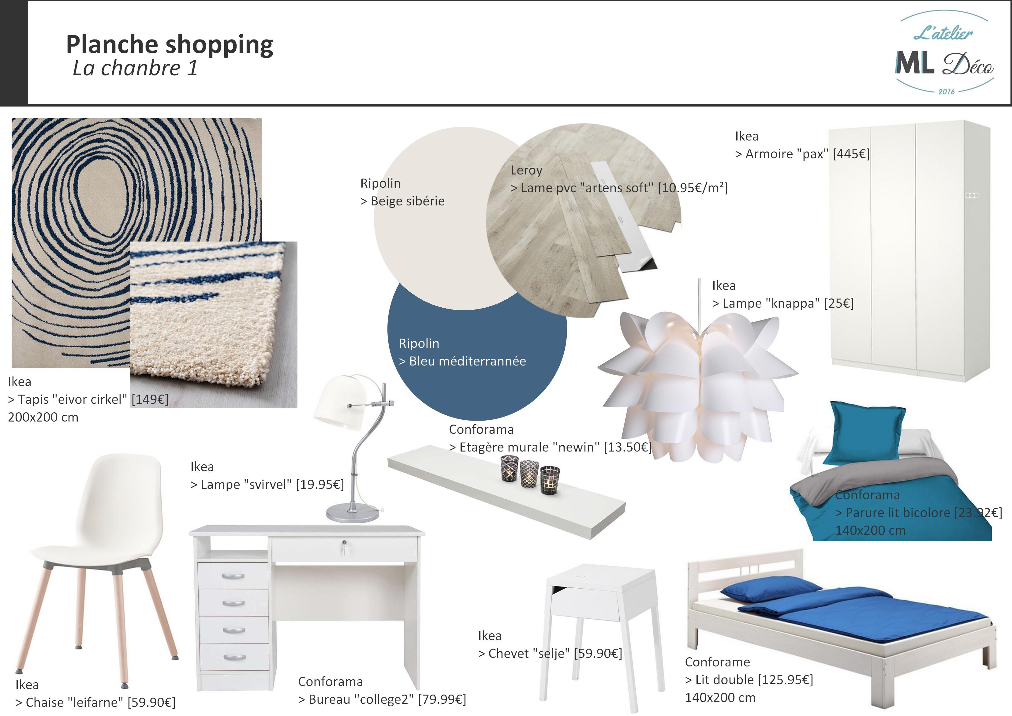 Planche shopping - Chambre 1