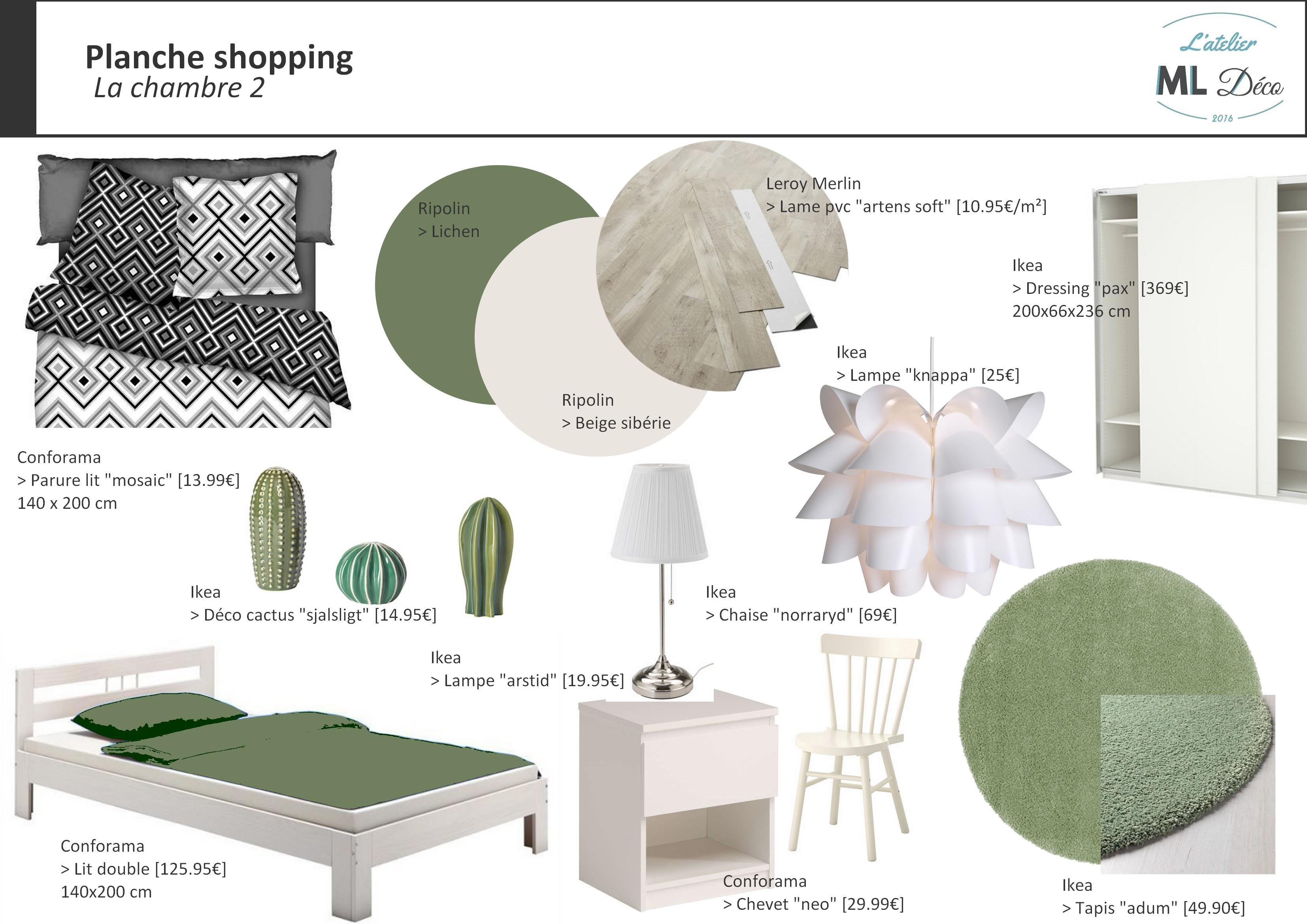 Planche shopping - Chambre 2